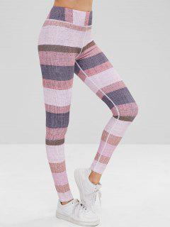 High Waisted Color Block Leggings - Multi L