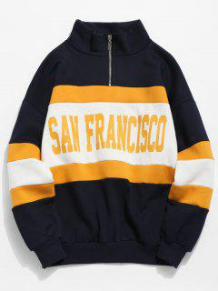 Quarter Zip Letter Contrast Fleece Sweatshirt - Deep Blue Xl