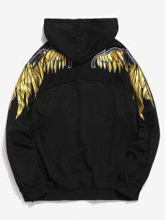 Shiny Wings Print Casual Hoodie - Black L