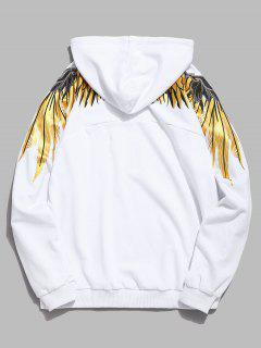 Shiny Wings Print Casual Hoodie - White L