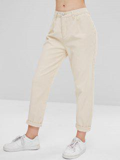 Rigid Denim Mom Jeans - Warm White M