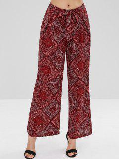 Scarf Print Palazzo Wide Leg Pants - Red Wine M