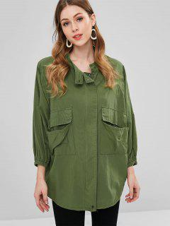 Zip Up Raglan Sleeve Field Coat - Army Green