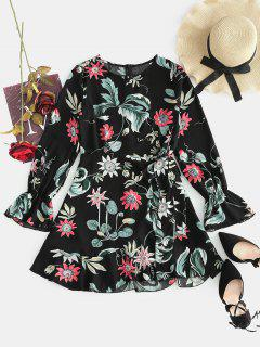 Flower Tulip Belted Dress - Black S