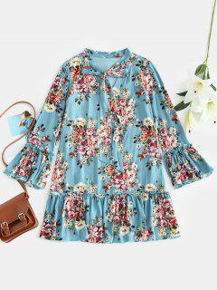 Robe Tunique Fleur à Volants - Bleu Vert S