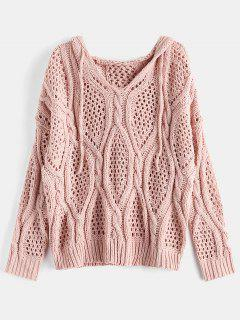 Hooded Open-knit Chunky Sweater - Pink Bubblegum