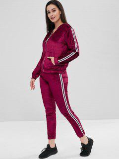 Velvet Jacket And Jogging Pants Tracksuit - Red Wine M
