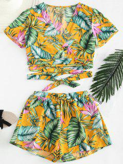 Palm Crop Wrap Top With Shorts Set - Multi S