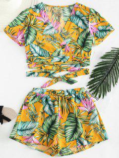 Parte Superior Del Abrigo De La Cosecha De La Palma Con Conjunto De Pantalones Cortos - Multicolor S