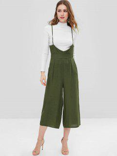 Cropped Wide Leg Cami Jumpsuit - Army Green L