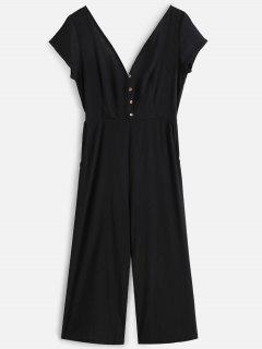 Buttoned Wide Leg Jumpsuit - Black Xl