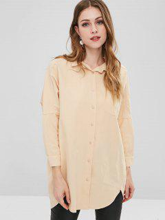 Graphic Batwing Longline Shirt - Peach S