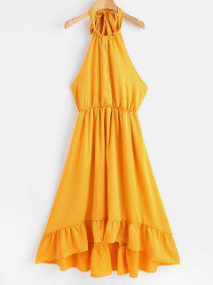 Backless Halter High Low Dress - Golden Brown M