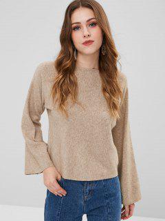 Heathered Plain Sweater - Tan
