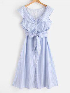 Striped Knotted Mid Calf Dress - Light Blue M