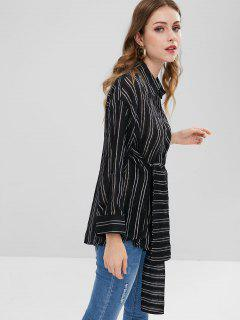 Striped Bowknot Drop Shoulder Blouse - Black