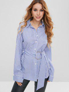 Belted Button Down Stripes Shirt - Blue M