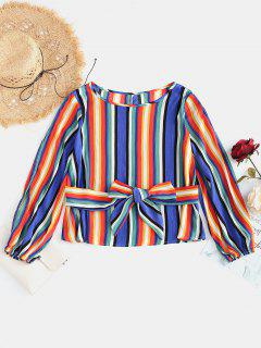 Colorful Striped Belted Blouse - Multi S