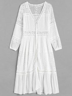 Lace Insert Mid Calf Dress - White L