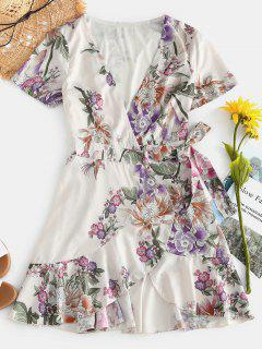 Flounce Floral Wrap Dress - Multi L