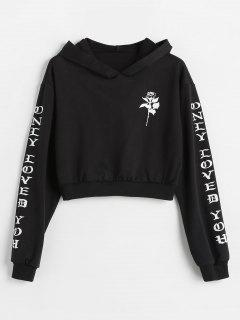 Letters Floral Drop Shoulder Hoodie - Black L