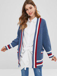 Contrast Trim Collarless Tunic Cardigan - Blue Jay