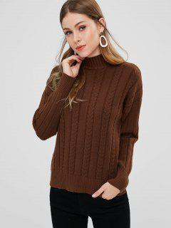 Cable Knit Mock Neck Pullover Sweater - Coffee