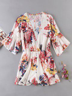 Floral Print Flare Sleeeve Surplice Romper - Beige L