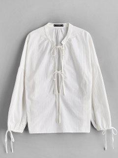 ZAFUL Low Cut Tied Collar Blusa - Blanco S