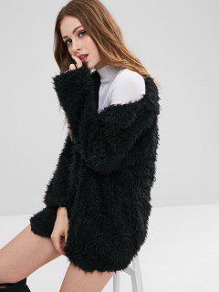 Open Front Sherpa Coat - Black L