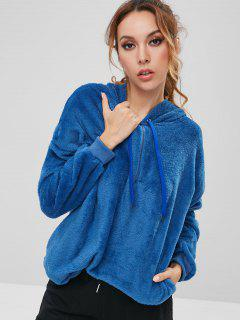 Oversized Half Zipper Fuzzy Hoodie - Blue Xl