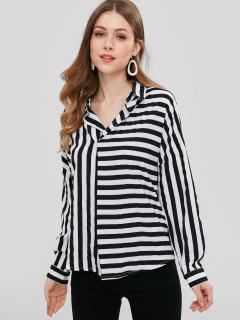 ZAFUL Striped Chiffon Blouse - Black L
