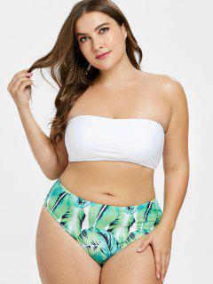 ZAFUL Plus Größe Palm Leaf Hoch Taillierte Bikini - Weiß 1x
