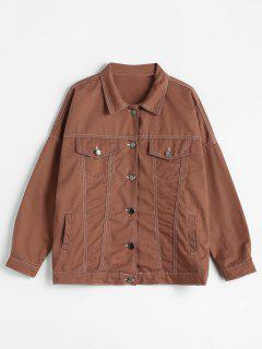 Multi Pockets Stitching Motorcycle Jacket - Chocolate S