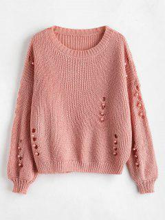 Faux Pearl Ripped Drop Shoulder Sweater - Pink