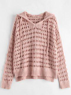 Open Knit Hooded Oversized Sweater - Pink Bubblegum
