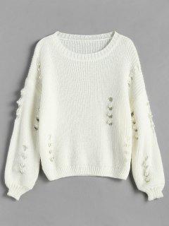 Imitación De Pera Embellecida Jersey Hueco - Blanco