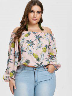 Blouse Ananas à Volants Grande Taille ZAFUL - Rose  1x