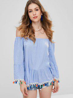 ZAFUL Off Shoulder Tassel Flare Sleeve Blouse - Light Blue M