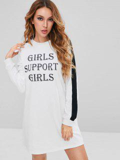 ZAFUL Graphic Sweatshirt Dress - White M