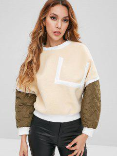 Patchwork Fuzzy Sweatshirt - Cornsilk L