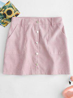 ZAFUL Button Front Corduroy Mini Skirt - Pink Bubblegum M