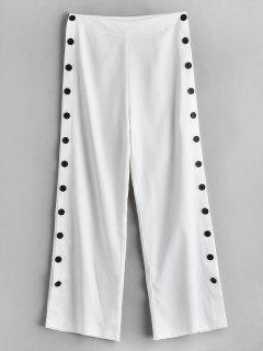 ZAFUL Side Button Wide Leg Pants - White M