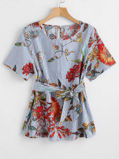 ZAFUL Belted Striped Floral Blouse - Multi S