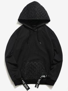 ZAFUL Square Patchwork Striped Hoodie - Black L