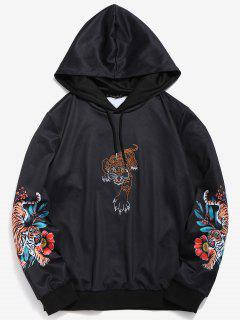 ZAFUL Embroidered Tiger Sleeve Print Hoodie - Black Xl