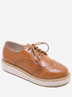 PU Leather Espadrilles Wingtip Sneakers - Light Brown Eu 37