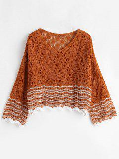 Hollow Out Crop Knitted Top - Tiger Orange