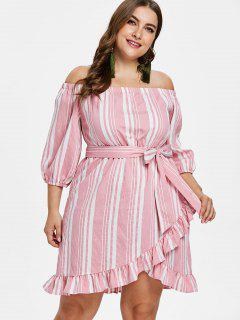 ZAFUL Plus Size Striped Belted Dress - Pink 3x