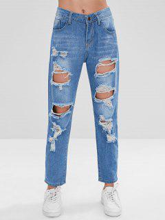 Ripped Boyfriend Jeans - Blue L